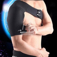 Wholesale Adjustable Breathable Gym Sports Care Single Shoulder Support Back Brace Guard Strap Wrap Belt Band Pads Black Bandage Men Women