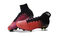 band black rose - Top Quality New Mercurial Superfly V FG Shoes Football Boots Rose red and Orange Color Soccer Cleats In hot selling