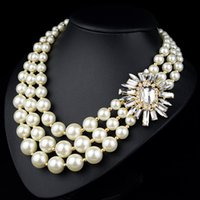 Wholesale new arrived high quality double strand of pearl diamond summer party jewelry collar necklaces pendant for wedding partys