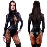 Wholesale S XL Plus Size Lingerie Sexy Catsuit Black Faux Leather Long Sleeve Front Lace Up Bodysuit Pole Dance Costume for Women W850842