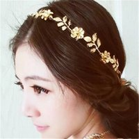 Wholesale Women Lady Gold Color Baroque Leaves Rhinestone Headbands Party Jewelry Statement Jewelry Hair Hoop Valentine Gift Colors