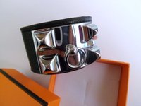 Wholesale hot sale new fashion leather metal punk wide female and male bracelet and bangle with box