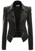 Precio de Leather jackets-Mujer de la PU PU de cuero remolque tapas 2016 Otoño Invierno Flores bordado Traje-vestido locomotora chaqueta de abrigo Slim ropa Zipper cuero outwear