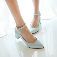 mary jane - womens pointy toe med block heels woman ankle strap buckle mary jane dress work career shoes