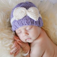 baby bow comfort - Baby Wool Crochet Hat Bow Flower Knitted Caps for Girls Newborn Toddlers Winter Autumn Soft Cotton Comfort Warm Sleep Cap Headwear