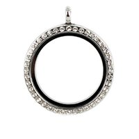 Cheap 10PCS 4 Colors 30mm Round Magnet Memory Photo Magnetic Glass Living Floating Locket Pendant With Rhinestones