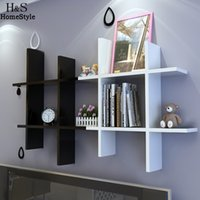 bedroom wall shelves - Home Wooden White Black Elegant Wall Hanging Shelf Bedroom Books Goods Storage Holder Living Room Fashion Decor us6