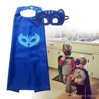 Wholesale 120Sets lloween Children Capes Children P J mask kids owlette catboy gekko cartoon cosplay clothing baby boys girls Capes mask set