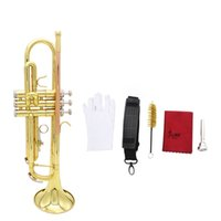 Wholesale Trumpet Bb B Flat Brass Phosphor Trumpet with Mouthpiece Cleaning Brush Glove Strap Top Quality Musical Instruments