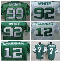 Wholesale Men s Reggie Randall Cunningham White Ron Jaworski Throwback Retro Jerseys Funny Tshirt