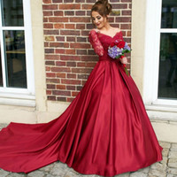 beautiful summer tops - Burgundy Dresses Evening Wear Long Sleeve Images Beautiful Parties Gowns Sheer Illusion Bodice Top Button Lace Prom Dresses Arabic