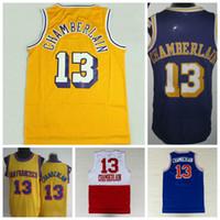 Wholesale Discount Wilt Chamberlain Throwback Jerseys Uniforms Rev New Material Wilt Chamberlain Shirt Retro Home Yellow Purple White Blue