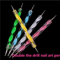 bars crystal mosaic - Profession Manicure Tools Spiral Drill Point Pen Diamond Pen Drill Point Pen Set Double Some Flowers Crystal Flower Bar Mosaic Diamond
