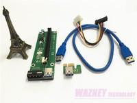 La mejor calidad PCI-E PCI E expreso 1X a 16X tarjeta vertical + USB 3.0 cable extensor con fuente de alimentación de Bitcoin Miner litecoin 60 CM