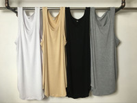 arc size - 4 Seasons Sleeveless O neck Long Men Basic T Shirts Cotton Extended Lengthen Arc Hem Men Casual Vest Sports Tank Tops Colors Size S XL
