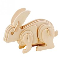 Wholesale 3D DIY Three dimensional Wooden Animal Rabbit Style Jigsaw Puzzle Toys for Children Kid Handmade Wood P0635