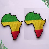 africa badge - Africa Flag Map Rasta Rastafarian Reggae Appliquepatch Embroidery Badge Patches iron on garment DIY accessory