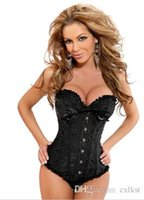 Wholesale Sexy Lace Boned Bustier Basque Corset Lingerie Sets Free G String Plus Size S XL Good Quality