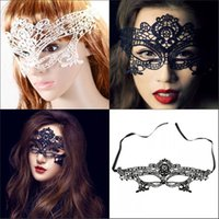 Wholesale Female Mardi Gras Carnival Masks Anonymous Sexy White Back Lace Venetian Masquerade Ball Party Marks In Stock Prom Dance Eye Flower