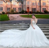 Wholesale Crystal Neck Tie - Hot Luxury Style Lace Wedding Dresses Crystals Beads Sequins Bow Strapless Tie up Back Chapel Train A-Line 2016 Bridal Gown Custom Made
