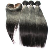 Wholesale hair weaves closures bundles with pc Lace Closure three middle part straight hair Brazilian Peruvian Indian Mongolian Hair
