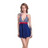 Wholesale 2016 Falda Swimwear Women One Piece Swimsuit Stripe Plus Size Bathing Suit Padded Navy Blue Halter Skirt Beachwear