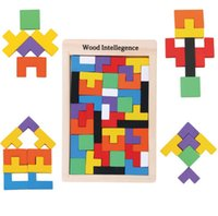 Wholesale Chirstmas Wooden Russian Tetris Puzzle Jigsaw Intellectual Building Block and Training Toy for Early Education Baby Toys DHL