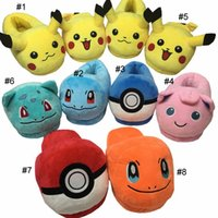 Novelty Slippers adult animal slippers - Poke Soft Warm Indoor Plush Slipper Pikachu Squirtle Jigglypuff Charmander Ball plush Slipper For Adults cm