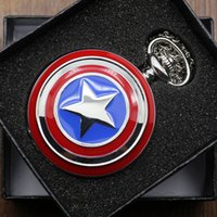 america watch box - Hot Sale Captain America Cosplay Avengers Shield Quartz Pocket Watch CM Chain with Gift Box P497C W