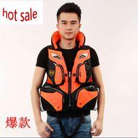 Wholesale Professional Fishing Life Jacket for Adults Multi pocket Fishing Foam Vest Survival Suit Fishing Jacket EPE Floating Vest