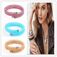 Wholesale 2017 New Fashion Double Crystaldust Bracelets Bangles Pave Full Crystal Dust Stardust Bracelets For Women Pure colors Mix