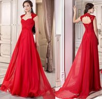 Wholesale 2017 Formal Red Evening Gowns Corset Chiffon Full Length Lace Up A line Prom Dresses Cap Sleeves Occasion Party Gowns Free Ship Custom Made