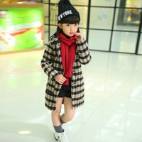 Wholesale Children s wear girl han edition grid cloth coat dust coat of new fund of autumn winters is long in children with thick coat