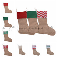 Wholesale 12 inch new arrival high quality canvas Christmas stocking gift bags canvas Christmas Xmas checvron stocking decorative socks bags Z1