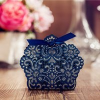 Wholesale New Navy Blue Candy Box with Ribbon Hollow Out Wedding Boxes Event Wedding Favor Holders Wedding Supplies