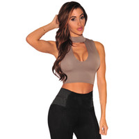Wholesale Cropped Tops Hot Summer Style Women Halter Hollow Out Tank Top Sexy Black Khaki White High Neck Sleeveless Short Crop Tops