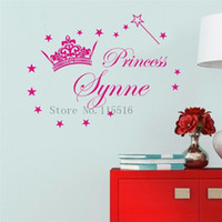american girls names - D605 Princess Crown Name custom Wall stickers for Kids room decor Vinyl wall Decal for Girls Nursery room Decoration