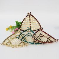 bamboo basket weaving - Hand woven Triangular Kitchen Bamboo Weaving Container fruit dish flowers food candy storage basket Handmade home decoration