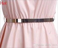 Venta Top Pop Moda correas de cintura de la placa de aleación metálica delgada simple estrecho del cummerbund del vestido del oro del metal cinturón de cintura elástica Negro Beige SV113212