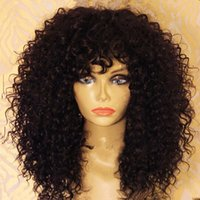 bang curly hair - Brazilian natural human hair wigs kinky curly wig african american full lace wigs with bang for black woman