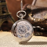 beetle watch - Sliver Round Hercules Beetle Carved Mechanical Pocket Watch With Long Chain White Dial Roman Numerals Men Women Watch