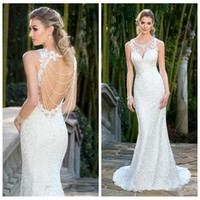 beautiful dresses uk - Beautiful Lace Appliques O Neck Mermaid Wedding Dresses Sexy Open Back Beading Natural Slim Bridal Gown Beach UK Fashion Hot Sale