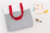 Wholesale Earlygreen Cotton Canvas Shopping Tote Shoulder Carrying Bag Eco Reusable Bag Zippered Small Stripe Design