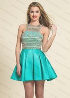 Wholesale New Sexy short Homecoming Dresses A Line Sleeveless Backless Beaded Sparkly Crystals Mini party Dress Evening Gowns