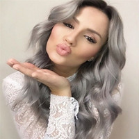 beauty wave long - New Beauty B Grey Full Lace Wig Ombre Virgin Human Body Wave Hair Wig Glueless Lace Front Wig With Baby Hair