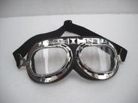 G # 01 Gafas de la motocicleta CE Plataforma de la vendimia Marco de plata Vidrios claros claros transparentes de la lente Casco del crucero de Steampunk que compite con el desgaste T-01 del ojo