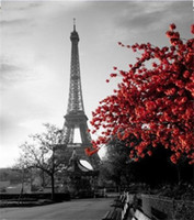 Wholesale 71x71 Inch Waterproof Grey Paris Eiffel Tower Custom Bathroom Shower Curtain Cityscape Red Flower Polyester Fabric Bathroom Curtain No Rod