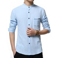 Wholesale New Casual Chinse Kongfu Men Shirt Long Sleeve Solid Color Slim Fit Linen Shirt Men Trend Men Designer Collarless Shirts