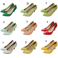 Wholesale 2016 hot Exclusive occupation Sheepskin shoes color spring candy color fine leather shoes Asakuchi with high heels