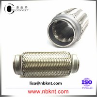 bellow hose - Auto stainless steel double layer exhaust bellows flexible hose double braided with caps from Chinese manufacture